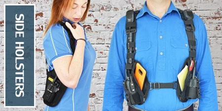 Side holsters for two way radio and phones